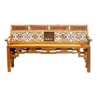 Finely Carved Chinese Qing Style Bench For Sale