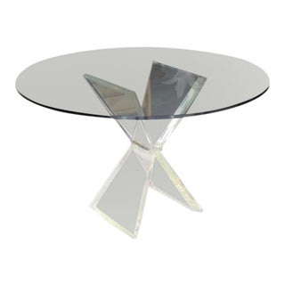 Mid-Century Modern Lucite X-Base Base Gueridon Center Dining Table For Sale