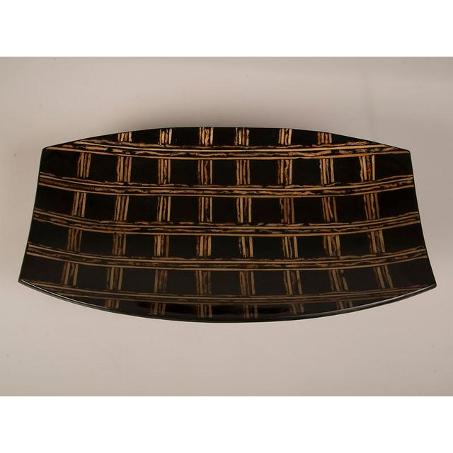 1950s Modern Large Black Lacquer Tray Inlaid with Bamboo, Malaysia For Sale - Image 5 of 7