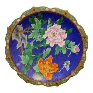 Chinese Bronze Cloisonne Enamel Scalloped Floral Plate