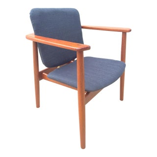 Danish Modern Børge Mogensen Lænestol Armchair in Blue For Sale