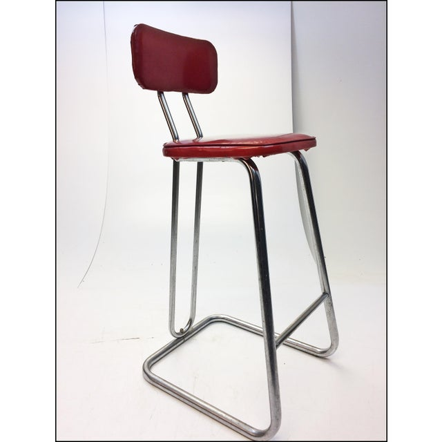 Mid Century Modern Red Vinyl Bar Stool - Image 8 of 11