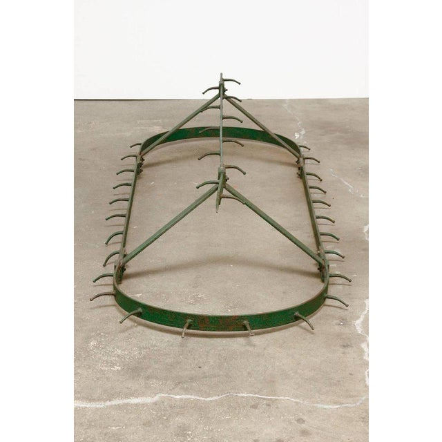 Rustic French Butcher's Hanging Iron Pot Rack For Sale - Image 3 of 13