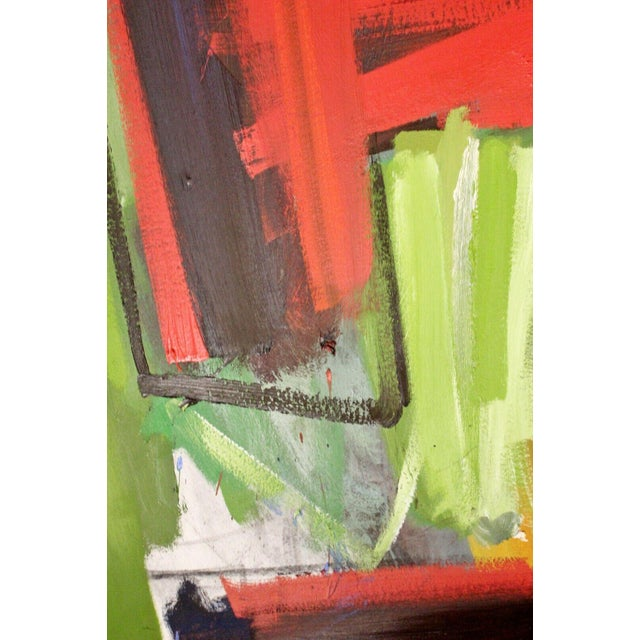 Orange Contemporary Modern Abstract Acrylic Canvas Painting Hugh O'Donnell For Sale - Image 8 of 10