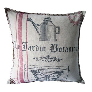 French Farmhouse Distressed Botanique Pillow For Sale