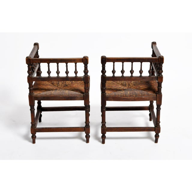 Early 20th Century French Wooden Corner Chairs - a Pair For Sale - Image 5 of 13