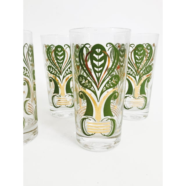 Art Deco Vintage Gold and Green Botanical Tumblers - Set of 5 For Sale - Image 3 of 4