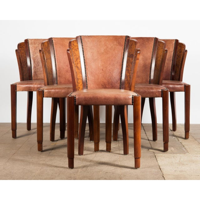 1920s Art Deco Walnut Burl And Cognac Leather Dining Chairs Set Of