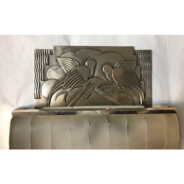 Early 20th Century French Art Deco Sconces With Geometric Motif - a Pair For Sale - Image 5 of 9