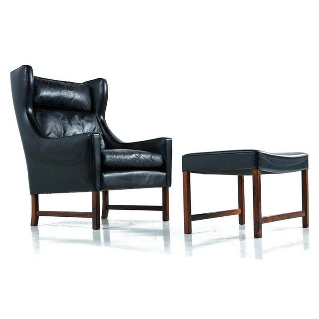 Borge Mogensen Style Black Leather & Rosewood Wingback Lounge Chair & Ottoman - Image 9 of 9