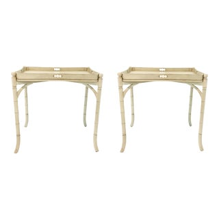 Hickory Chair Cream Asian Style Inama Tray Tables Pair For Sale