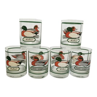 Mid-Century Georges Briard Mallard Duck Old Fashioned Glasses - Set of Six For Sale
