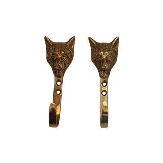 Solid Brass Fox Head Hooks - Pair
