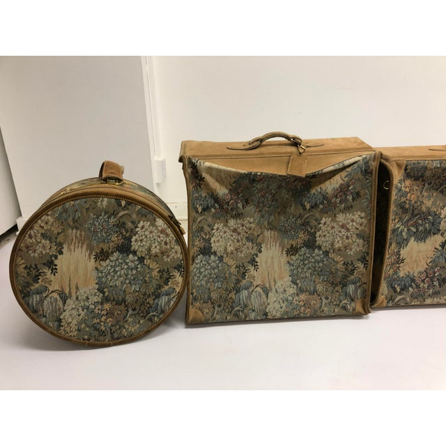 Vintage 3 Piece Tapestry Canvas & Leather Luggage Set by the French Company For Sale - Image 6 of 13