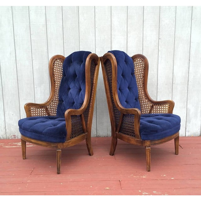 Vintage Cane Lewitte Wing Back Chairs - A Pair - Image 2 of 7
