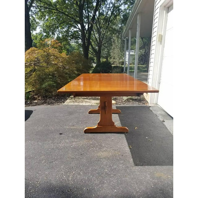 L. Hitchcock Furniture Harvest Trestle Table with 2 Leafs - Image 5 of 8