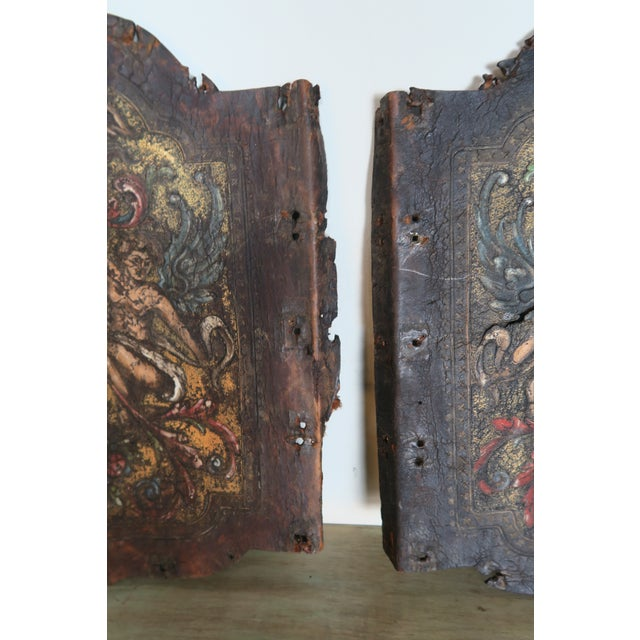 Animal Skin Pair of 19th C. Spanish Leather Panels For Sale - Image 7 of 10