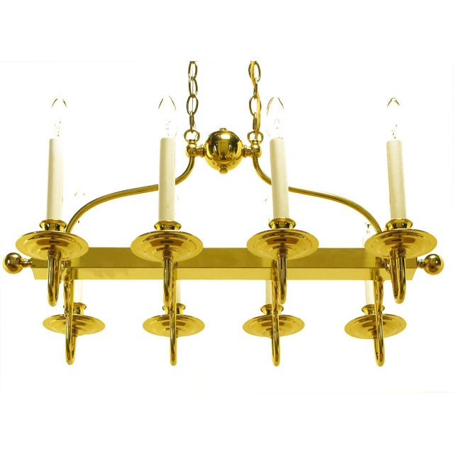 Eight-Arm Linear Brass Rectangular Chandelier For Sale In Chicago - Image 6 of 10
