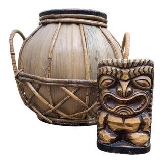 Vintage Rattan Basket & Tiki Bank For Sale