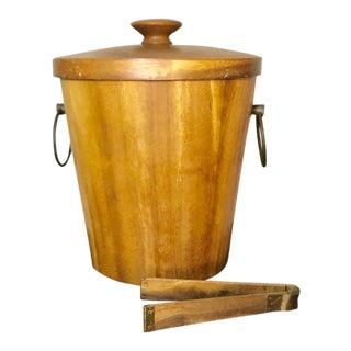 Oversized Vintage Mid Century Modern Monkey Wood Ice Bucket & Tongs For Sale
