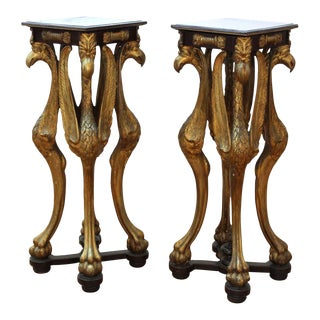 Empire Neoclassical Revival Carved Wood Pedestals With Bird Figures - a Pair For Sale