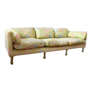 1960s Mid-Century Modern Chartreuse Brocade With Sakura Design Sofa