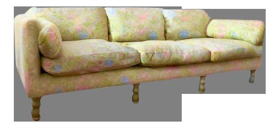 Last Call 1960s Mid Century Modern Chartreuse Brocade With Sakura Design  Sofa