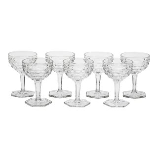 Mid-Century Fostoria Champagne Tall Sherbet Glasses - Set of 7 For Sale