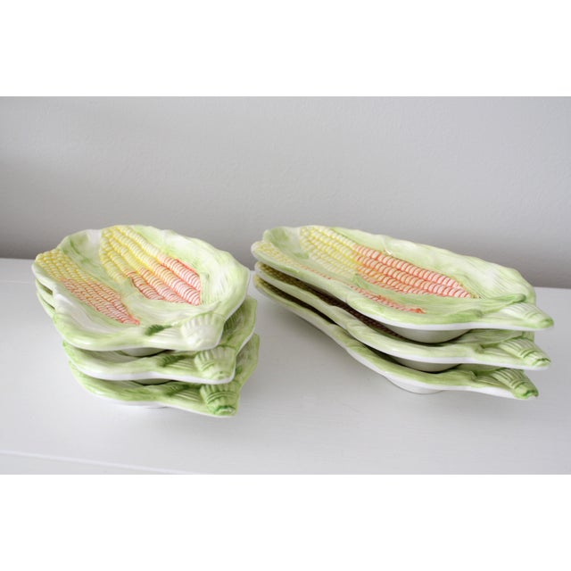 Make your next BBQ a stylish one! Adorable, vintage majolica, corn on the cob dishes / trays. Set of 6. Mid-century,...