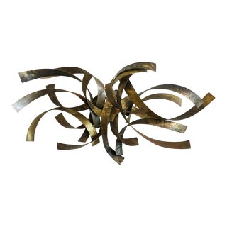 Vintage Signed Silas Seandel Mixed Metal Bronze Brass Steell Wall Sculpture For Sale