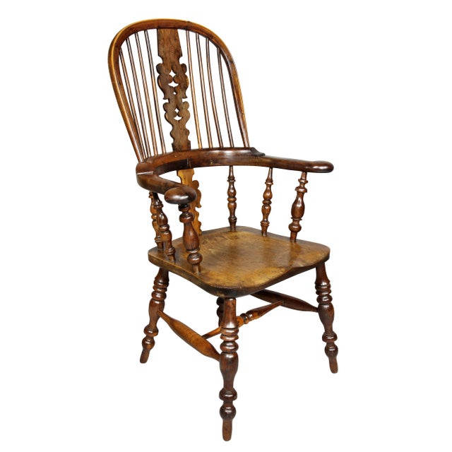 Set of Four Assembled Regency Yewwood Windsor Armchairs For Sale - Image 9 of 13