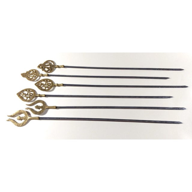 Mid 20th Century Mid 20th Century Brass Topped Kebob Skewers - Set of 6 For Sale - Image 5 of 5