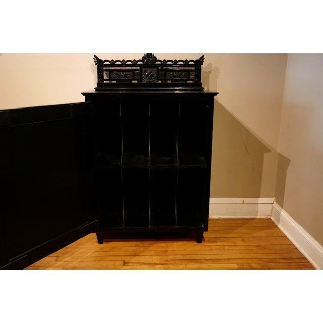Victorian Ebonized Vinyl Records Cabinet For Sale - Image 4 of 6