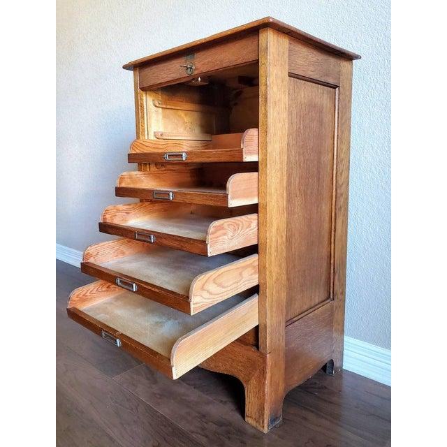 Mid-Century Danish Modern Tiger Oak Tambour Cabinet For Sale In Austin - Image 6 of 11