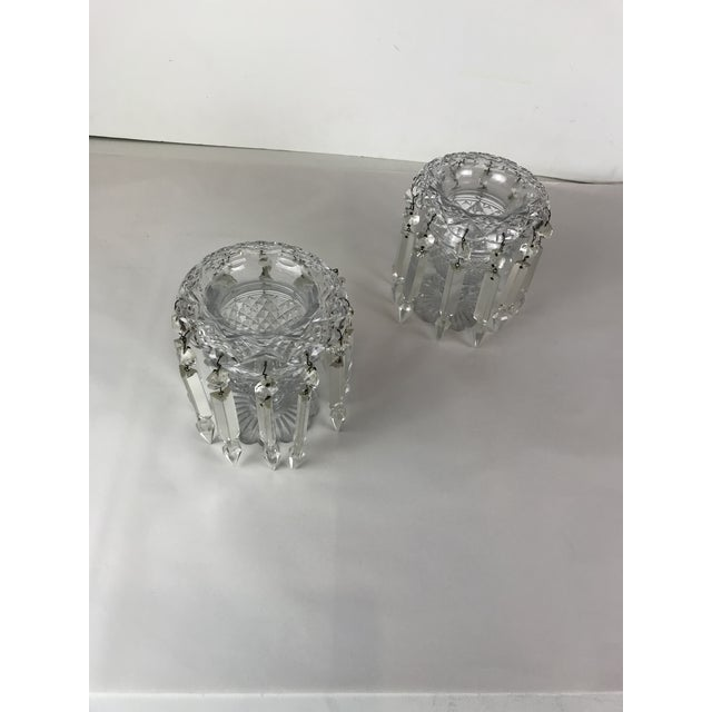 Glass Vintage Crystal Girandoles /Luster Candle Holders - a Pair For Sale - Image 7 of 12