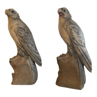 20th Century Figurative Hand Carved Alabaster Raven Bookends - a Pair For Sale