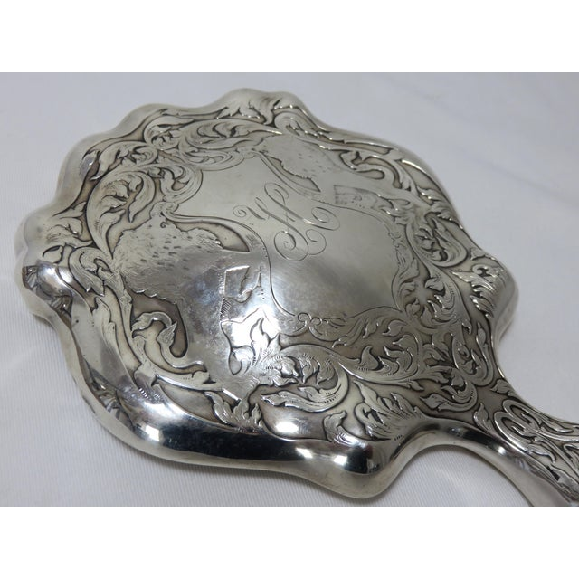 Antique Sterling Silver Hand Mirror For Sale - Image 4 of 10