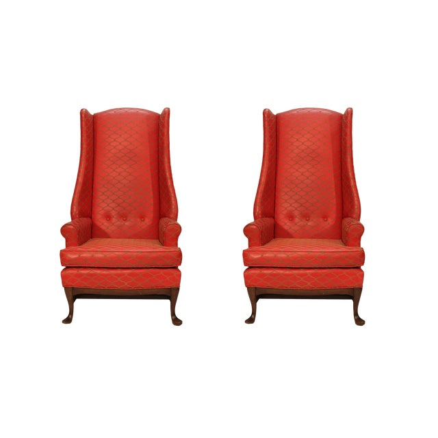 Tall Wingbacked Chairs- a Pair For Sale