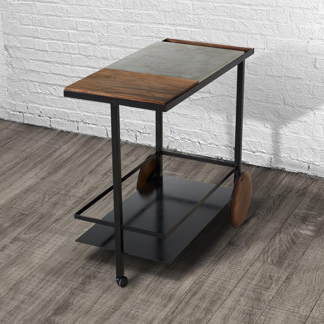 Not Yet Made - Made To Order Concrete Steel and Walnut Bar Cart For Sale - Image 5 of 9
