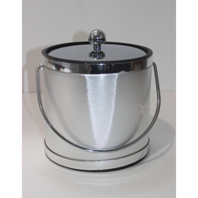 Vintage Ice Bucket Polished Stainless Steel and Mylar For Sale In West Palm - Image 6 of 12