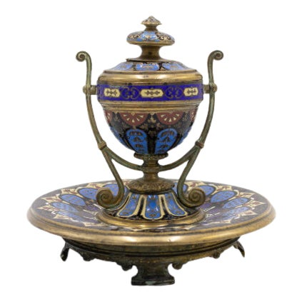 French Victorian Enamel Urn Shaped Inkwell For Sale