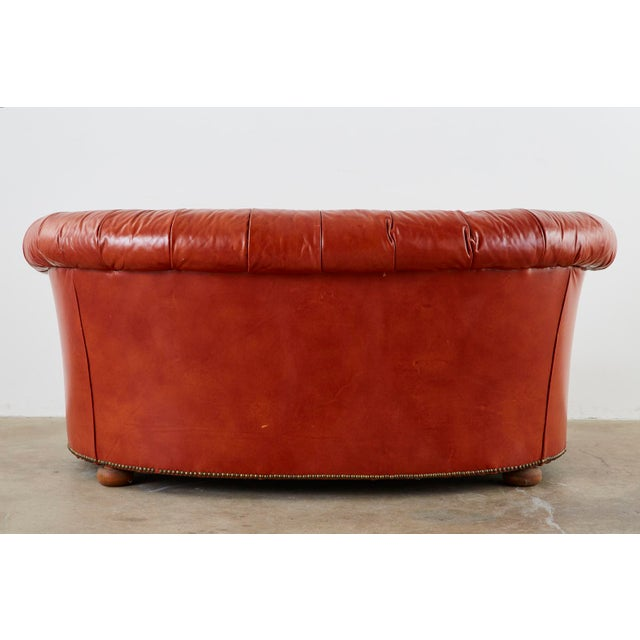 Midcentury English Chesterfield Style Kidney Bean Leather Settee For Sale - Image 12 of 13