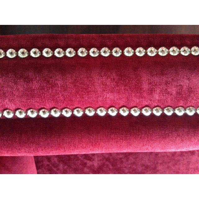 "Contemporary Mitchell Gold 94"" Keaton Sofa in Eller-Crimson For Sale - Image 3 of 6"