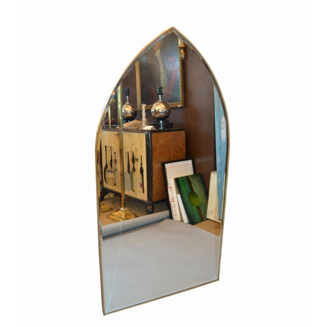 Gothic Italian Gothic Arch Brass Wall Mirror Hollywood Regency For Sale - Image 3 of 13