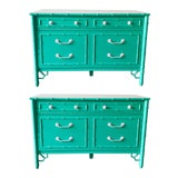 Image of Vintage Custom Colored Turquoise Bamboo Dressers - a Pair For Sale