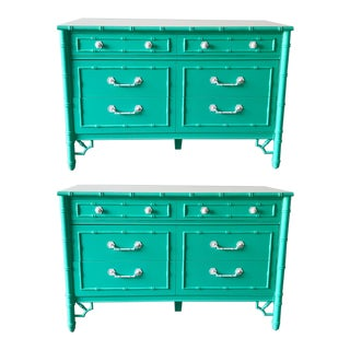 Vintage Custom Painted Turquoise Bamboo Dresser For Sale
