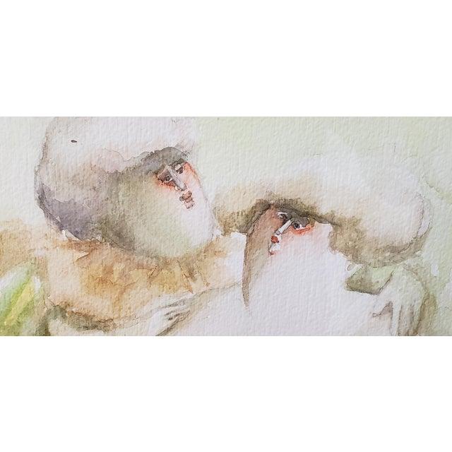 "Norha Beltran (Bolivia, 20th C.) ""Two Women"" Original Watercolor C.1980s For Sale - Image 4 of 7"