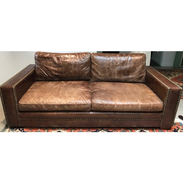 Italian Distressed Leather Sofa