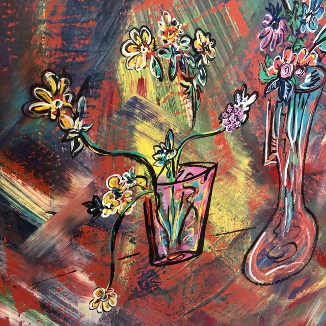Mid-Century Modern Large Mid-Century Abstract Floral Oil Painting on Canvas For Sale - Image 3 of 9
