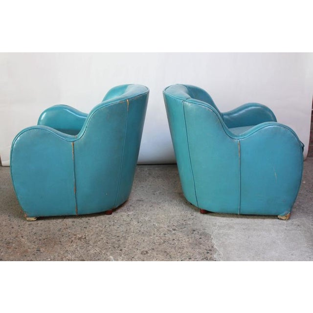 Scandinavian Deco Club Chairs in Blue Leather and Velvet - Image 2 of 11